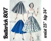 """Quick 'N Easy 50s FULL SKIRT Pattern, Butterick 8017, Waist 25"""", Hip 34"""", Inverted Pleat Skirt"""