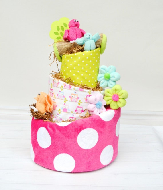 Owl Diaper Cake, Owl Baby Shower, Girl Cake Decor, Colorful Baby Shower Centerpiece, Baby Girl Gift, Baby Shower Gift, Baby Blossom Company