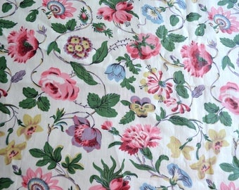 Vintage Chintz Curtain Panel - Cottage Chic Vine Roses and Flowers - 38 x 54
