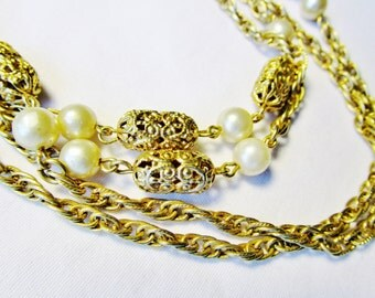 "Vintage Sarah Coventry Necklace 53"" Art Nouveau 40's Filigree Gold Metal Oblong Caged Beads & Glass Pearls Estate Victorian Bridal Statement"