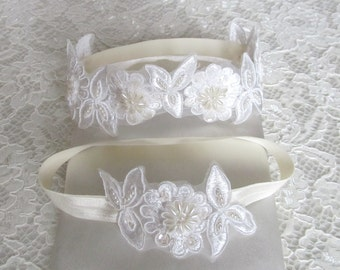 Ivory lace Bridal Garter Set,Wedding Garter,Bridal Accessories,Style #GSET01