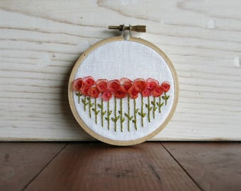 Pink and Orange Ribbon Flower Embroidery Hoop - Mother's Day Gift - 3 Inch Embroidery Hoop - Fiber Art