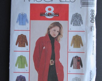 McCalls 8960/Uncut Sewing Pattern/Misses Shirt/Size 8-18/1997