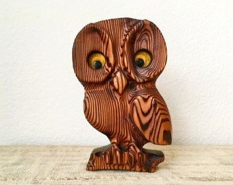Vintage Wooden Carved Owl