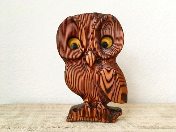 Vintage Wooden Carved Owl