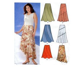 Contrast Swirl Skirt Pattern Scalloped Hem or Asymmetrical Bias Flared Skirt Simplicity 5510 Plus Size Waist 41 44 46 49 Sewing Pattern