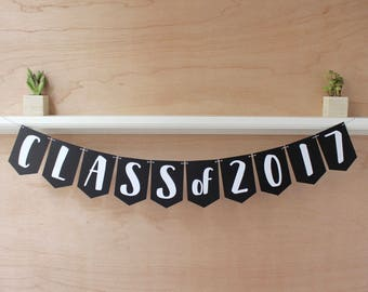 Graduation Class of 2017 Banner - Personalized Grad Sign with Year - Custom Colors - Photo Prop