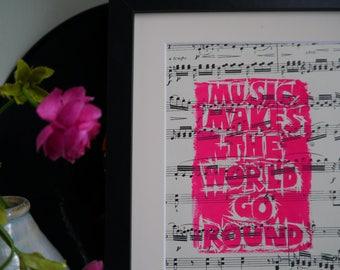Music Makes the World Go Round Original Linoprint on Vintage Sheet Music