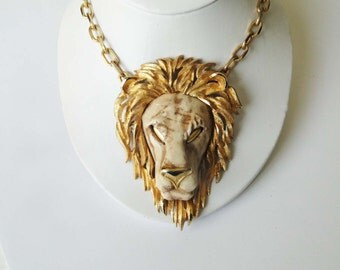 Huge Lion Head Pendant MOD Necklace