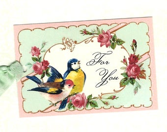 Gift Tags, Bird & Roses, For You, Birthday Tags, Bird Lover, Party Favors, Tags