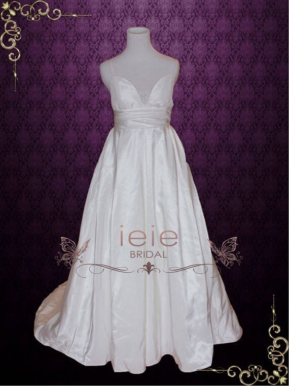 Simple Elegant A-line Low Back Empire Waist Wedding Gown with