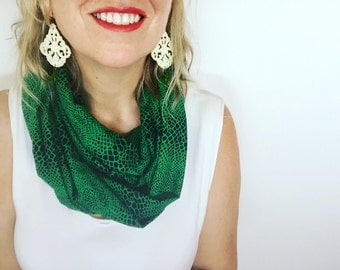Womens Green & Black Snake Skin Reptile Print Modern Infinity Scarf, Cowl, Accessory, Christmas Scarf, Gift for Her, Xmas Gift