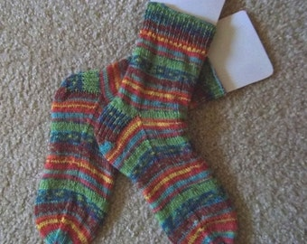 Socks - Handknitted Socks - Selfstriping - Mixed Colors Yellow-Green-Red-Orange-Blue-Brown - Unisex