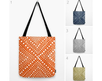 Tote bag Orange tote bag Navy tote bag White geometric tote bag Gray tote bag Canvas bag Shopping bag Gold tote bag Summer bag Navy blue