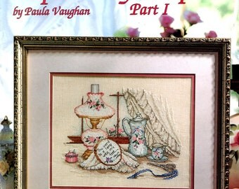 Inspired Scripture Verse Basket of Flowers Long Dress Paula Vaughan Counted Cross Stitch Embroidery Craft Pattern Leaflet Leisure Arts 2475
