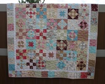 Scrappy Shabby handmade Quilt