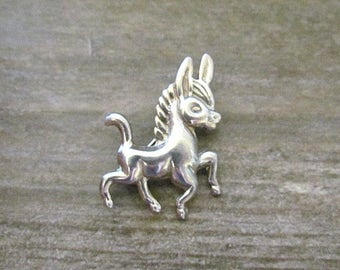 Vintage Sterling Silver Donkey Burro pin signed