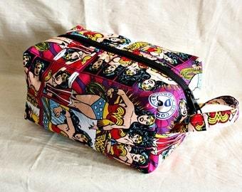 Wonder Woman dopp kit/ medium toiletry bag/  pouch/ travel kit/ - ready
