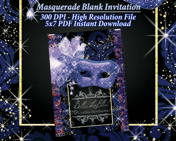 Masquerade Invitation Blank Downloadable from Bellasclipart on Etsy