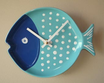 Navy Blue Turquoise Fish Wall Clock, Bathroom Clock, Kitchen Clock, Nursery Decor, Unique Wall Clock, Turquoise Home Decor - 2349