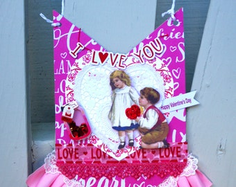 Shabby Chic Victorian Valentine's Day Ornament Hanging Decor