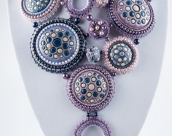 Evening Rain Necklace, Handmade Ceramic Beads, Blue Lilac Pink Bead Embroidered Necklace, OOAK