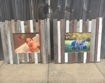 """ON SALE and Ready to Ship: 8x10"""" Pieced Reclaimed Rustic Wood Picture Frame"""