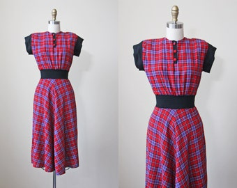 R e s e r v e d 1940s Dress - Vintage 40s Dress - Red Black Plaid Wool Deco Wasp Waist Swing Dress XS - Spring in her Step Dress