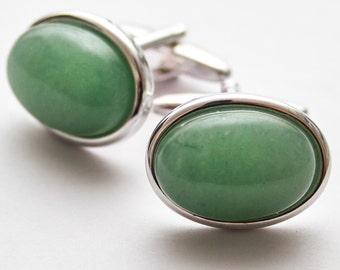 Green cufflinks.  Cuff Links.  Gemstone.  Oval.  Green Aventurine Cufflinks.  Hand Crafted.  Gifts For Men.  Groom Cufflinks.