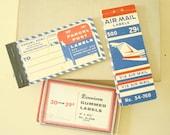 Dennison gummed address labels, Parcel Post, Air Mail, 3 packs vintage office, stationery supply, mid-century postal labels, scrapbook art