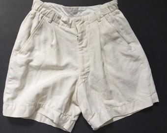 "1940s Boy's Shorts. Palm Beach linen/wool cloth. Goodall - Sanford Company. 23"" waist. Conmar Zipper."