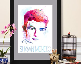Shawn Mendes Poster, Graphic Dorm Art, Wall Illustration, Treat You Better, Stitches, Mercy, Illuminate, Folk Pop Idol, Music Collectibles