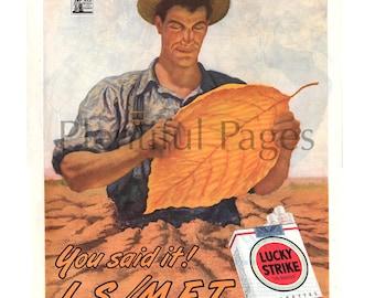 1945 Lucky Strike Vintage Ad, Advertising Art, Retro Cigarette Ad, Vintage Illustration, Tobacco Farmer, 1940's Lucky Strike, Great to Frame