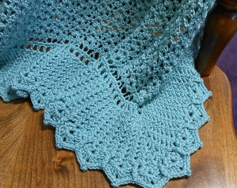 Blue Hand Crocheted Baby Blanket Heirloom Ruffles Baby Afghan - Ocean Spray Caron Spa Yarn - Free US Shipping