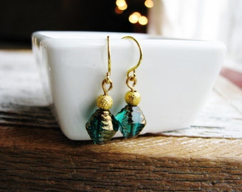 Green and Gold Earrings, Czech Glass Earrings, Green Earrings, Gold Earrings, Glass Dangle Earrings, Bridesmaids Gifts, Bridal Earrings