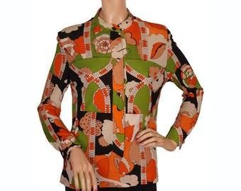 Vintage 1960s Mod Silk Shirt or Blouse - Averardo Bessi - M