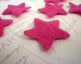 Felt Star Shapes DARK PINK - 1 inch, Cut outs, Die cuts, Scrapbooking - Pack of 10