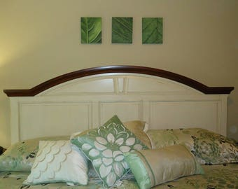 Abstract Art Triptych Leaf Painting Set, Macro paintings, abstract wall art, original green paintings
