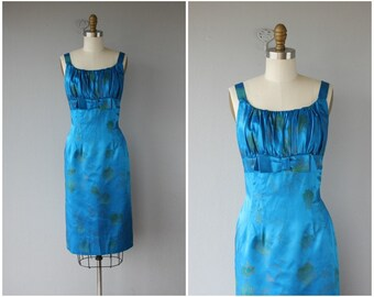 1950s Blue Silk Cocktail Dress | 1950s Wiggle Dress | 50s Cocktail Dress | 1950s Dress | 50s Dress | 50s Holiday Party Dress