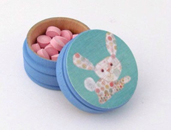 Polka dotted Rabbit Tooth Fairy Box Pill Box - New Baby Shower Gift - Wedding Ring Box - Pick your Own Color