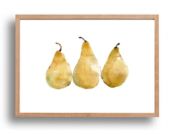 Pears art print, kitchen art, yellow pears art print, still life, fruit print, Print of watercolor,minimalist art, watercolor print, artwork