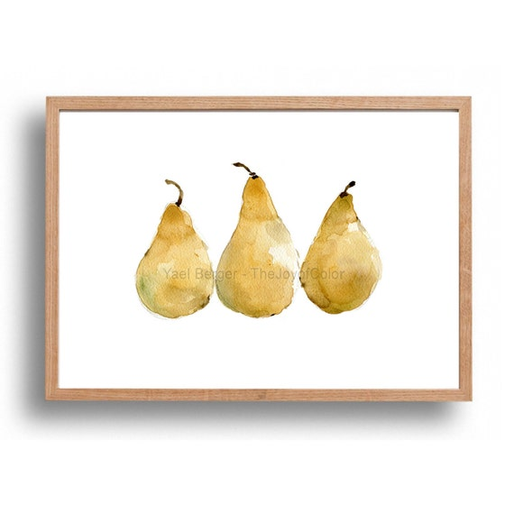 Pears art print, kitchen art, yellow pears art print, still life, fruit print, Print of watercolor,minimalist art, watercolor print, artwork
