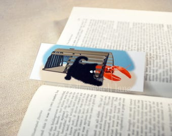 Black Cat Meets Lobster Bookmark - Original, Laminated Illustration