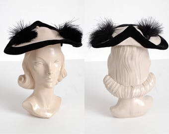 1940s vintage Gladys + Belle white wool and black ostrich feather hat * 1930s AC125