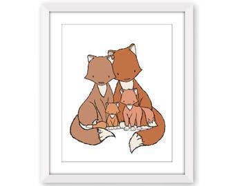 Fox Nursery Art -- Foxes Family of Four -- Woodland Nursery -- Nursery Art -- Children Art Print -- Kids Wall Art