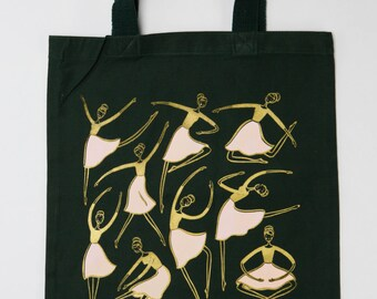 Cotton Canvas tote with Ballerina screen print