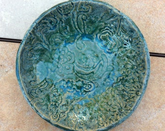 Turquoise Lace Textured Stoneware Bowl 8 inches