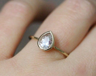 White Sapphire 14K Yellow Gold Engagement Ring, Stacking Ring, Gemstone Ring, Wedding Ring, Recycled Gold, Eco Friendly  - Made To Order