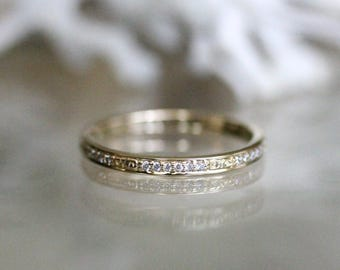 Vintage Inspired Diamond Eternity Ring, 14K Yellow Gold Ring, Wedding Band, Stacking Ring, Engagement Ring, Eco Friendly - Made To Order