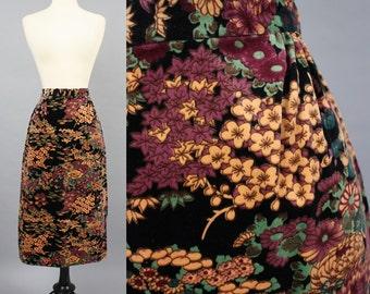 """vintage 80s Asian Floral Motif Black Velvet Midi Skirt / 1980s Botanical Garden Wiggle Pencil Skirt / Small W26"""""""